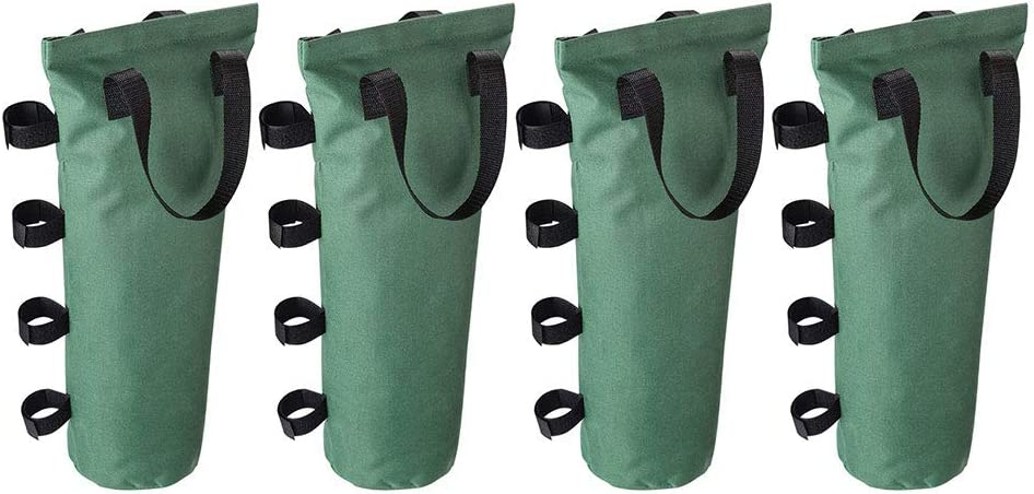 Set of 4 Instahibit Outdoor Pop Up Canopy Tent Weight Sand Bag 600D Canvas for Gazebo Shelter Green