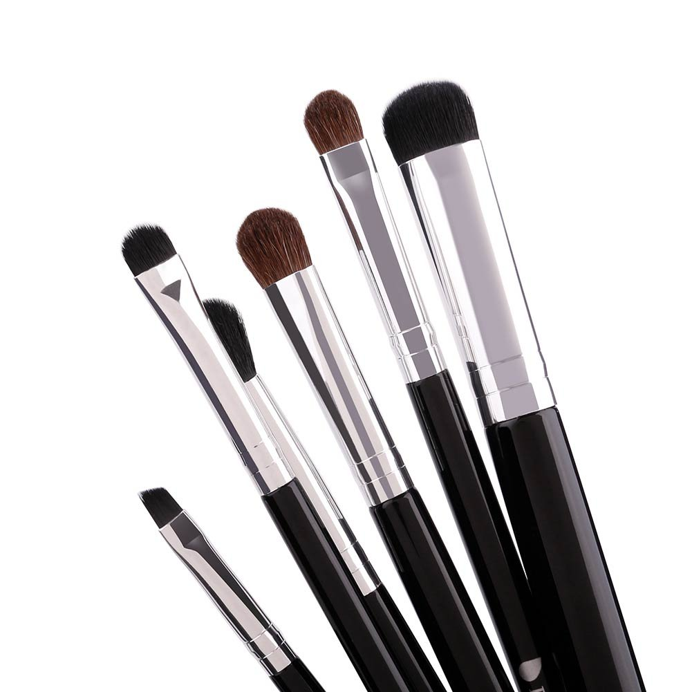 DUcare 6pcs Eyeshadow Brushes Makeup Eye Brush Set Eyebrow Blending Black with Silvery Doremi Beauty