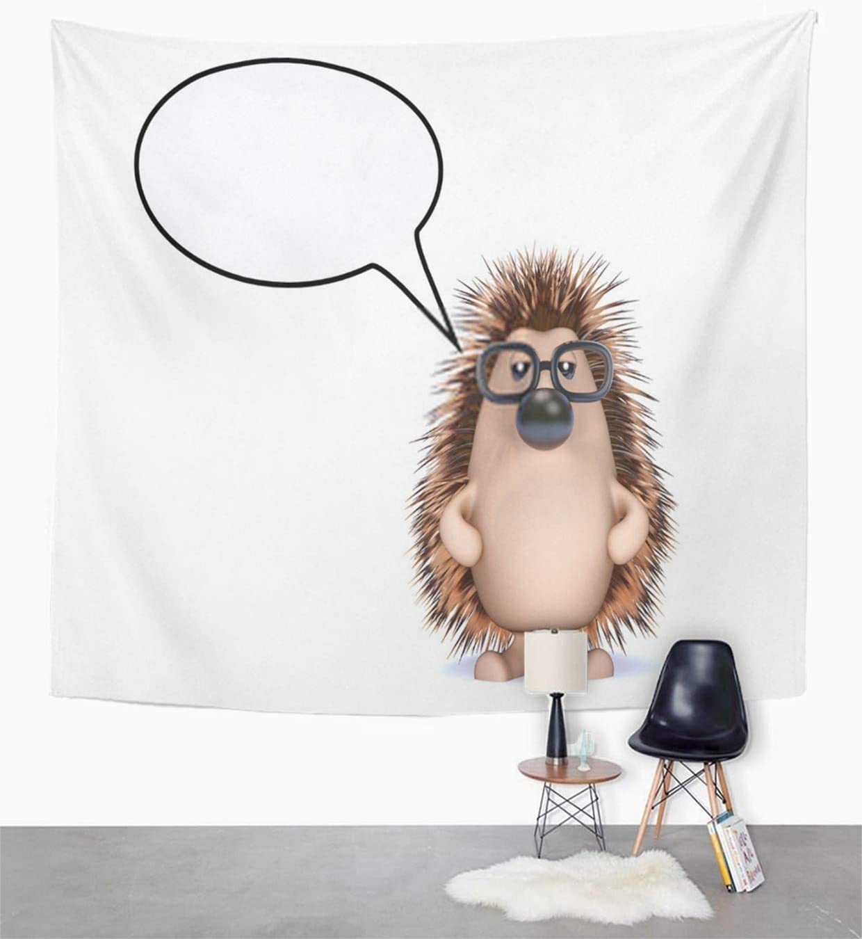 Houlor Tapestry Cute Hedgehog Talks A Lot Three Dimensional Speak Wildlife Speech Bubble Wall Hanging Art Print Home Polyester Decoration Apartment Bedroom Living Room Dorm Decor 60x80 Inches