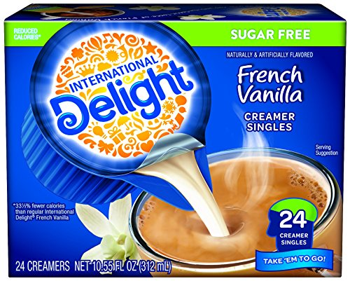 International Delight Sugar Free Mini I.D.'s Coffee Creamer, French Vanilla, 24 ct (White Mini Creamer)