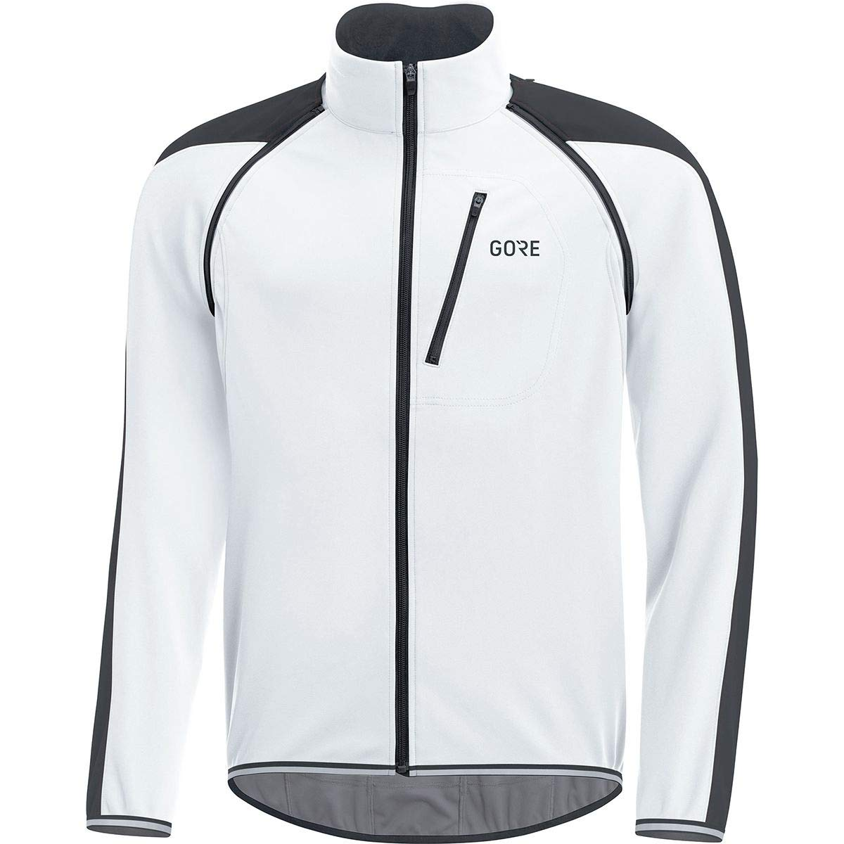 GORE Wear Men's Windproof Road Cycling Jacket, Removable Sleeves, GORE Wear C3 GORE Wear WINDSTOPPER PHANTOM Zip-Off Jacket, Size: L, Color: White/Black, 100190 by GORE WEAR