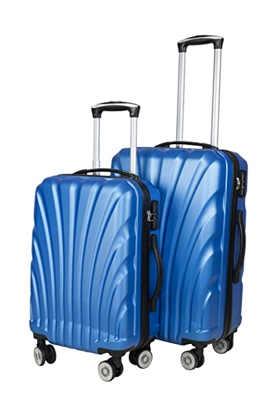 3G ABS Blue Combat Series Hard Sided Trolley Trael Bags (20 and 24-inch) - Set of 2