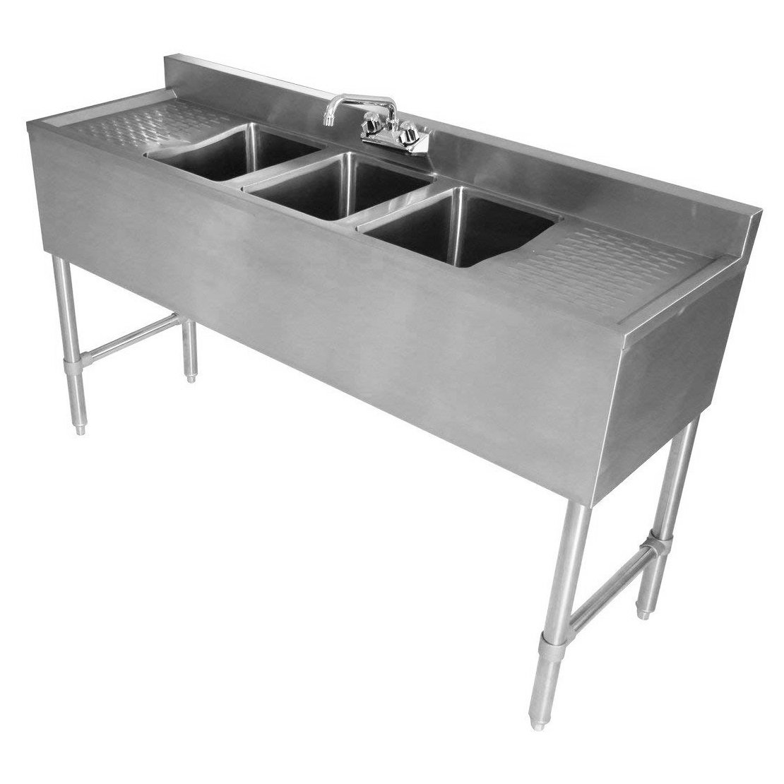 Durasteel 3 Compartment Stainless Steel Bar Sink Nsf 10 X 14 Bowl Drain Diagram For Pinterest Size Commercial Standard Underbar Double Drainboard Approved