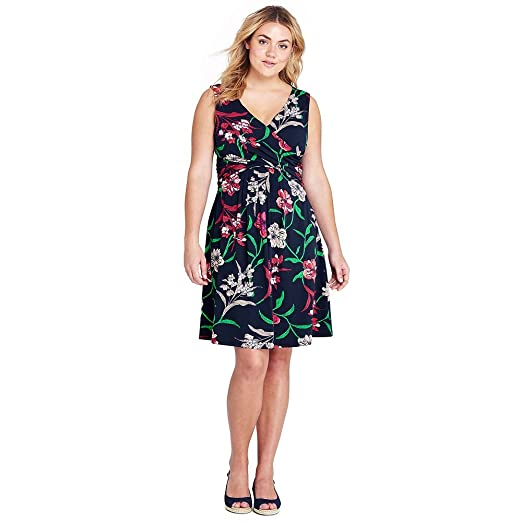 9e7d9c170286 Lands' End Women's Plus Size Sleeveless Fit and Flare Dress, 3X, Bold Coral  Floral Vine at Amazon Women's Clothing store: