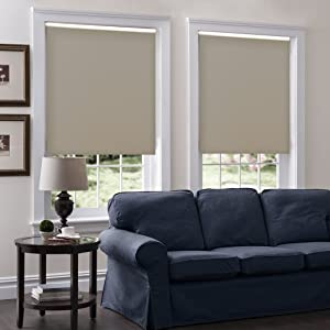 Windowsandgarden Cordless Roller Shades, Any Size 19-96 Wide, 30W x 36H, Serena Light Filtering/Room Darkening Dove