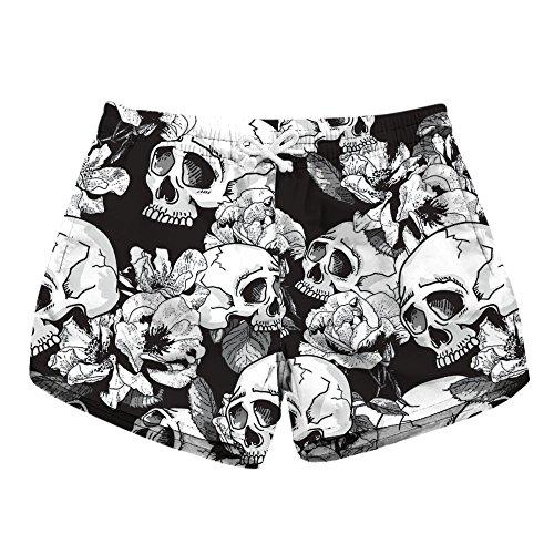 Honeystore Women's Casual Swim Trunks Quick Dry Print Boardshort Beach Shorts Skull Style C S