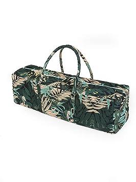 Yoga Studio Yoga Kit Bag - Bolsa de Yoga 71 x 23 x 18 cm, Bolsa de algodón para Esterilla de Yoga con Bolsillos de Almacenamiento, Cierre YKK, Selva ...