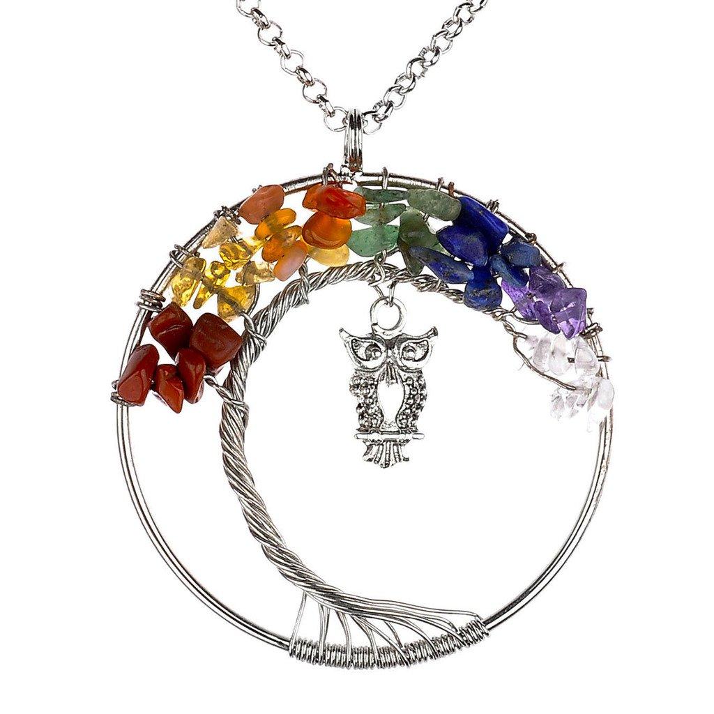 JOVIVI Women Tree Of Life Drop Earrings Wire Wrapped Crystal Pendant 7 Chakra