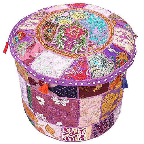 Indian Pouffe Ottoman Cover Round Patchwork Embroidered Pouf Ottoman Cover Purple Cotton Floral Traditional Furniture Footstool Seat Puff Cover (18x18x13) By Stylo Culture (For Upholstered Sale Footstools)