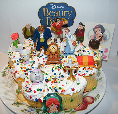Disney Belle Cardboard Stand - Disney Beauty and the Beast Deluxe Mini Cake Toppers Cupcake Decorations Set of 14 with Figures, a Sticker Sheet and ToyRing Featuring Belle, the Prince Beast, Chip and More!