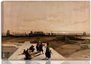 Berkin Arts Louis Haghe Stretched Giclee Print On Canvas-Famous Paintings Fine Art Poster-Reproduction Wall Decor Ready to Hang(Sunset Over The Ruins at Karnac Thebes Egypt Colored Bed)#NK