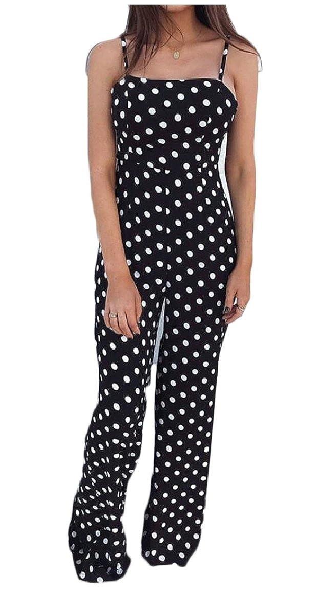 Gocgt Womens Sleeveless Polka Dots Printed Jumpsuit Long Playsuit Rompers