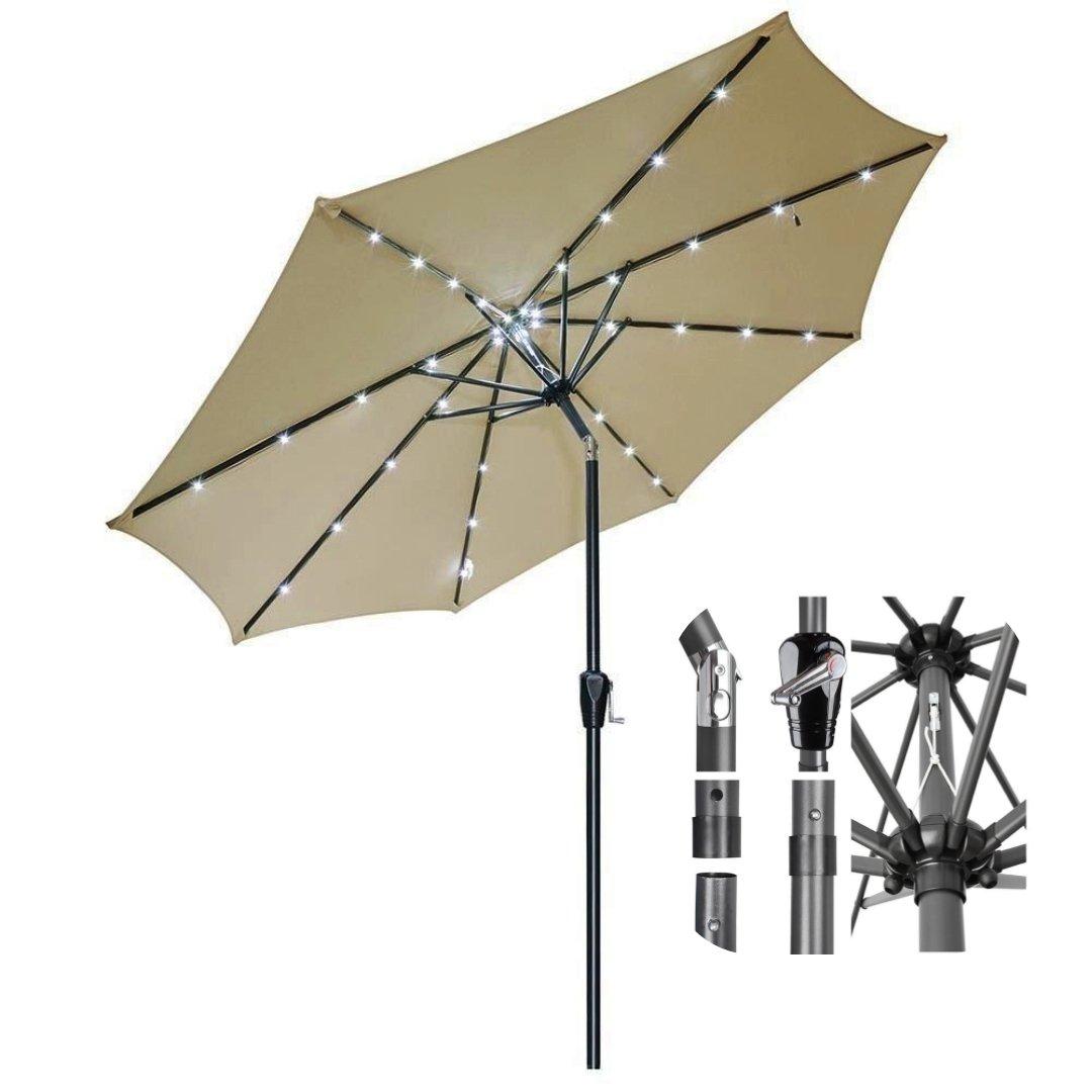 9ft Outdoor Patio Solar Power LED Aluminium Umbrella Sunshade UV Blocking Tilt Hand-Crank - Beige #920