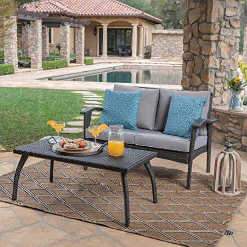 Great Deal Furniture 303985 Hilary Outdoor Grey Wicker Loveseat and Coffee Table Set with Silver Water Resistant Cushions,