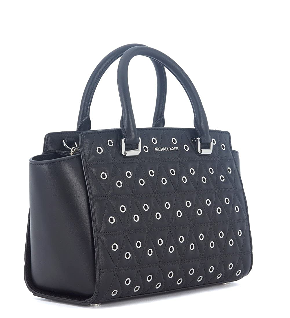 b57dbdfa6e504 Borsa a mano Michael Kors Selma in pelle nera trapuntata con borchie   Amazon.co.uk  Shoes   Bags