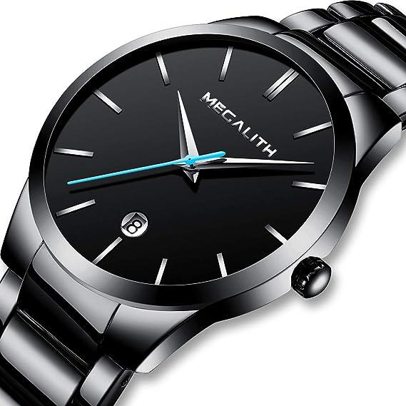 Relojes Hombre Relojes de Pulsera Deportivos Impermeable Fecha Lujo de Acero Inoxidable Negro Reloj Analogico Hombre
