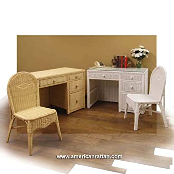 Amazoncom White Wicker Desk with File Drawer and Chair Set