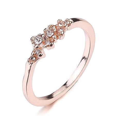 b449bc87b LGJJJ Floral Ring Women Small Fresh Zircon Ring Cute Student Imitate  Diamond Inlaid Anti Allergies Ring Minimalist Ring,Rose Gold,6#:  Amazon.co.uk: Kitchen ...