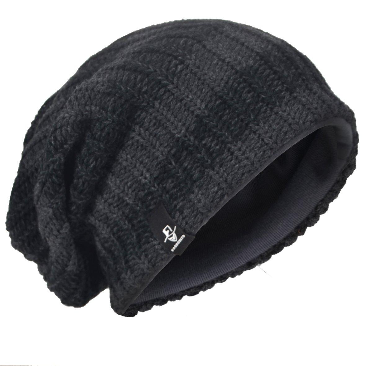VECRY Men's Cool Cotton Beanie Slouch Skull Cap Long Baggy Hip-hop Winter Summer Hat (Stripe-Dark Grey)
