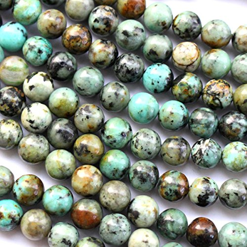 fashiontrenda Natural African Turquoise Round 10mm 6mm 8mm for Necklace Gemstone Loose Beads - Necklace Round Gemstone Beads