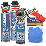 Soudal All Season Window & Door Foam Kit with Foam Gun, Gun Cleaner and Gloves