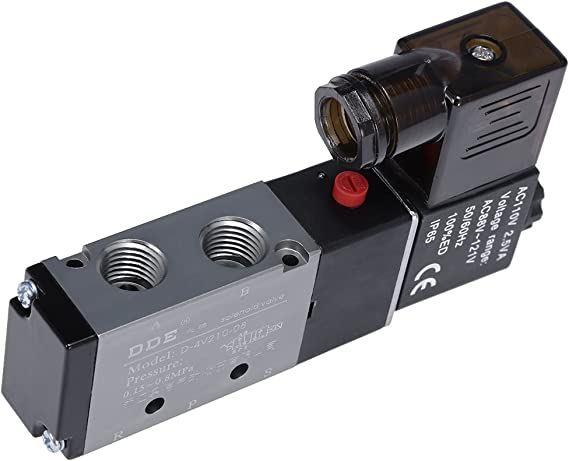ETIAL Pneumatic Solenoid Valve PT 1//4 Air Valve 4V210-08 AC 110V 5 Way 2 Position Base Quick Fittings Muffler Set