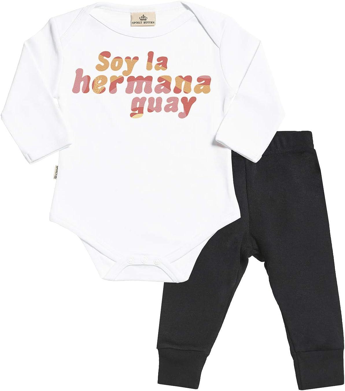 Spoilt Rotten SR - Soy la Hermana Guay Regalo para bebé - Azul Body para bebés & Negro Pantalones para bebé - Ropa Conjuntos para bebé