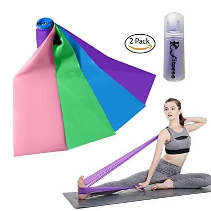 Pc Fitness Resistance Bands Set of 2 Long Exercise Bands, Elastic Band for Yoga Home Gym,Physical Therapy,Strength Training,Rehab