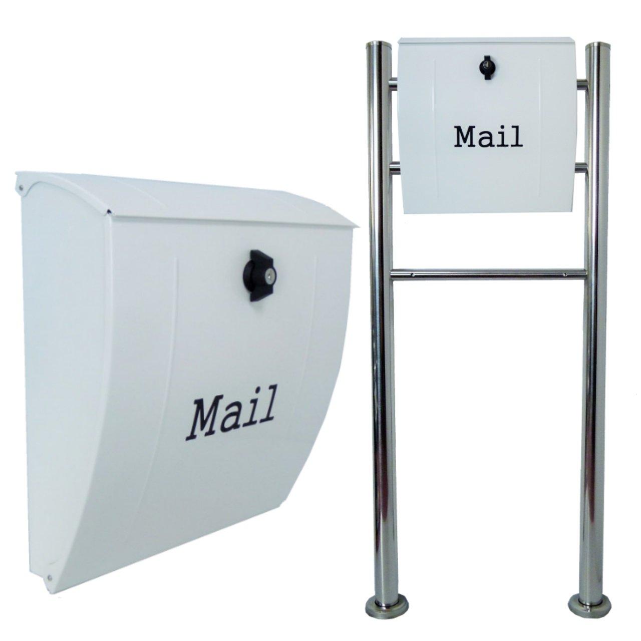 郵便ポスト郵便受けおしゃれ北欧風飾りバー付スタンド型プレミアムステンレスホワイト白色ポストm024 B076GTN9WC 22880