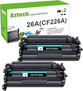 Aztech Compatible Toner Cartridge Replacement for HP 26A CF226A 26X CF226X Laserjet Pro M402dn M402n M402dn Laserjet Pro MFP M426fdw M426fdn M426dw (Black, 2-Pack)