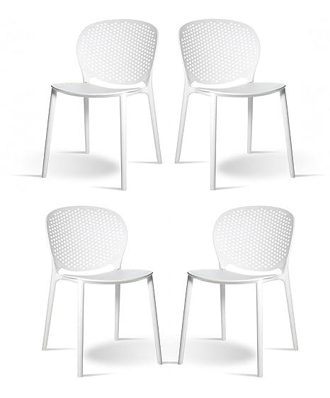 Meubletmoi Set di 4 sedie Bianche impilabili - Design Contemporaneo ...