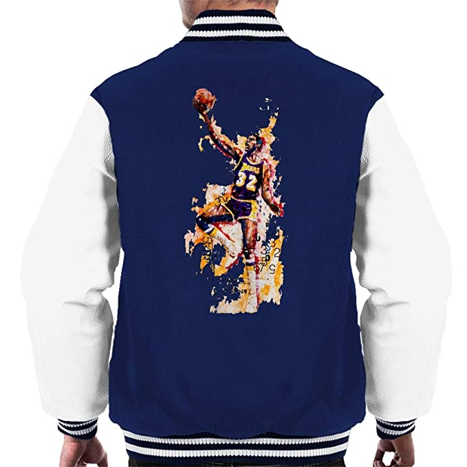 Sidney Maurer Original Portrait of Magic Johnson LA Lakers Mens Varsity Jacket: Amazon.es: Ropa y accesorios