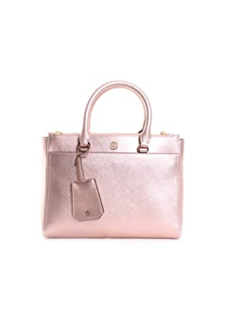 3a4ca066b9d Amazon.com  Tory Burch Robinson Metallic Small Double-Zip Tote in Light  Rose Gold  Clothing