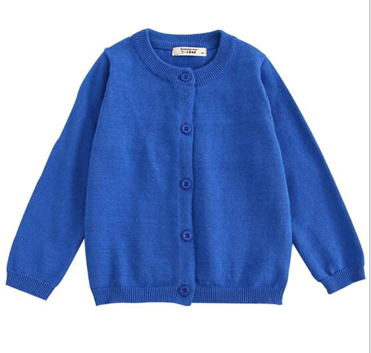 FEESON 100/% Cotton Knit Crew Neck Solid Button Down Cardigan Sweater for Children