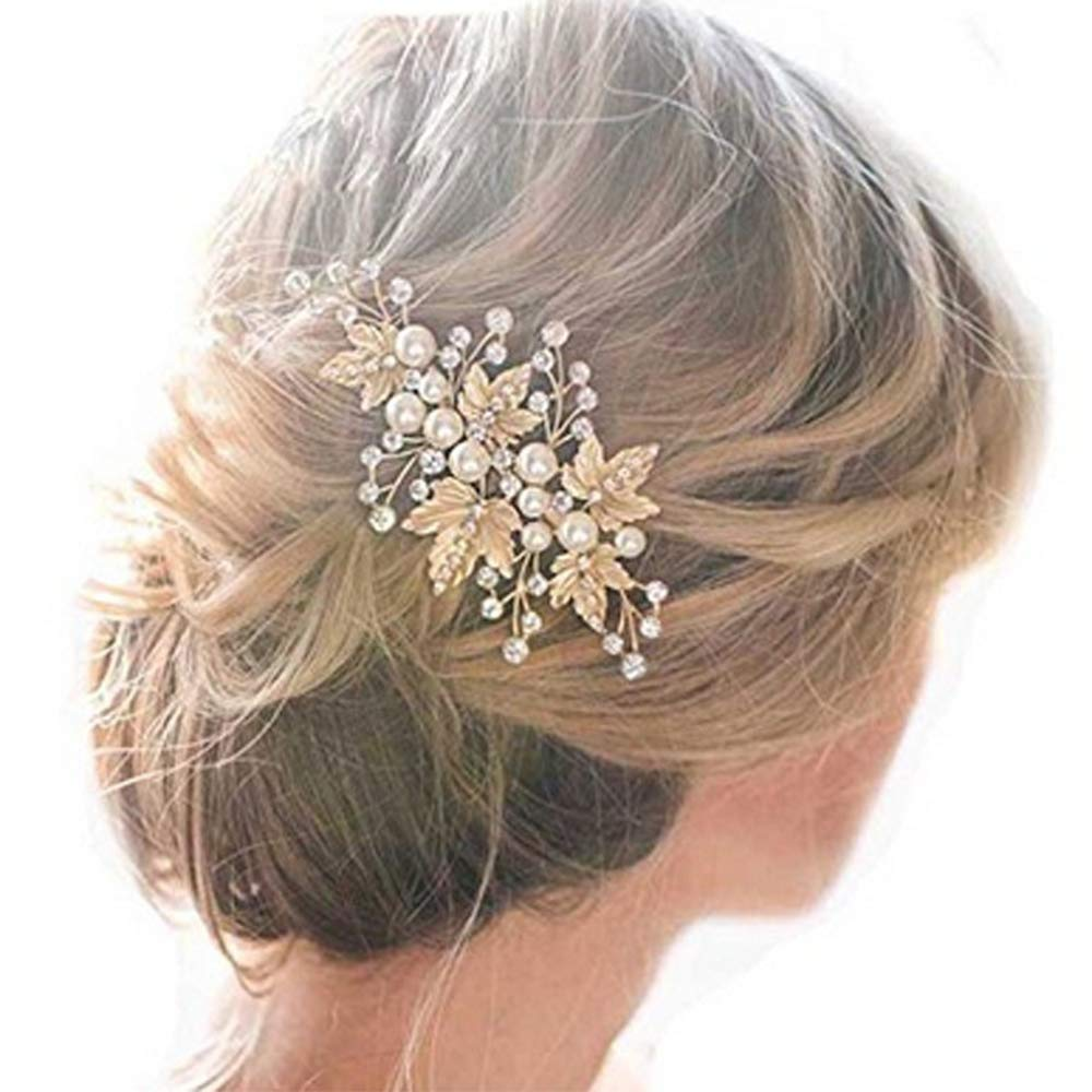 Amazon Com Sppry Wedding Hair Clips 2 Pcs Rhinestone Pearl Hair Accessories For Bridal Women Gold Beauty