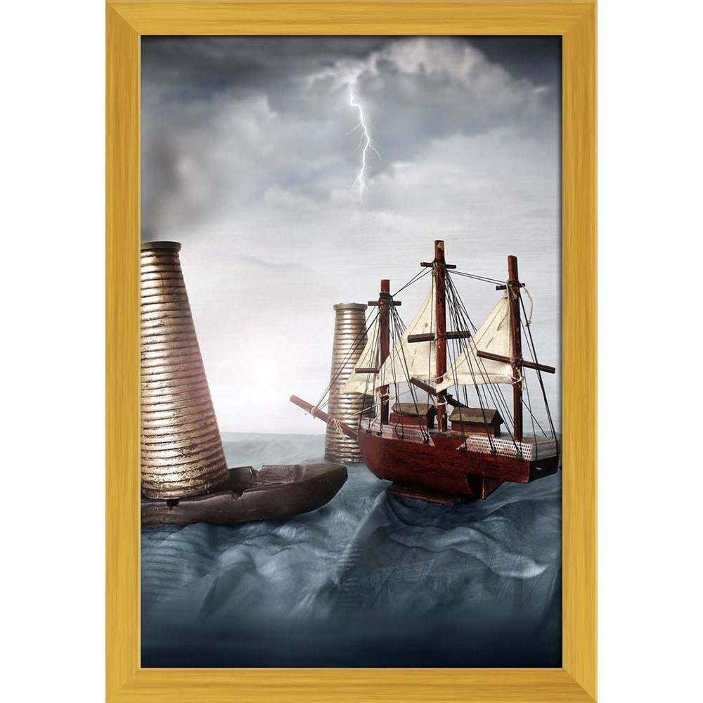 Artzfolio Miniature Ship In An Ocean Poster Golden Frame With Glass