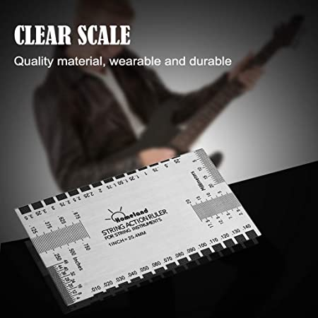 Stainless Steel String Action Ruler Guitar Setup Gauge Luthier Measuring  Tool with User Guide for Electric, Acoustic & Bass Guitars