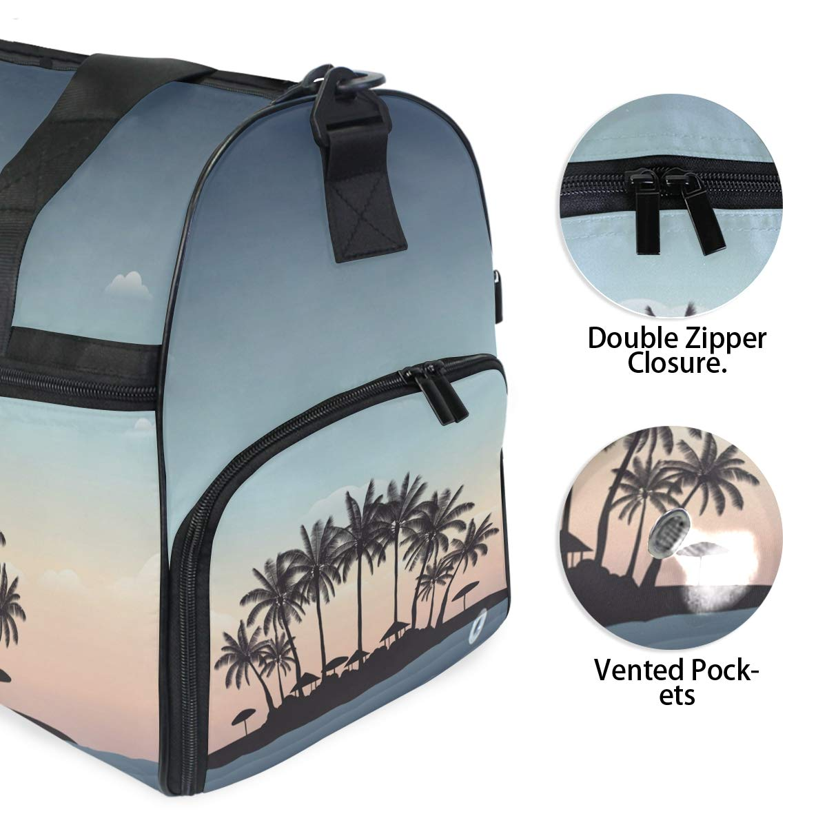 Travel Duffel Bag Silhouette Palm Tree On Beach Waterproof Lightweight Luggage bag for Sports Gym Vacation