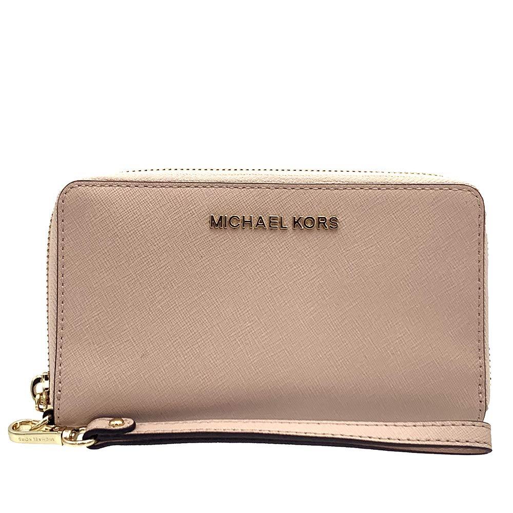 Michael Kors Jet Set Travel Large Flat Multifunction Smartphone Saffiano Leather Wristlet Case, Ballet