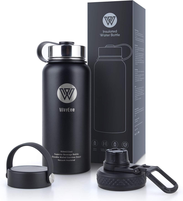 WayEee Botella de Agua Térmica Taza de Viaje Acero Inoxidable con 3 Tapas Intercambiables Botella Agua Deporte sin BPA Cantimplora Aislada Leakproof para Oficina, Ciclismo, Deporte Aire Libre (950ML)