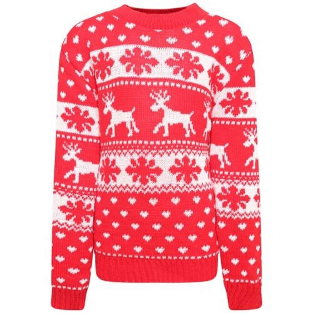 Desconocido Generic Ni/ños Unisex Punto Rudolph Jersey de Navidad