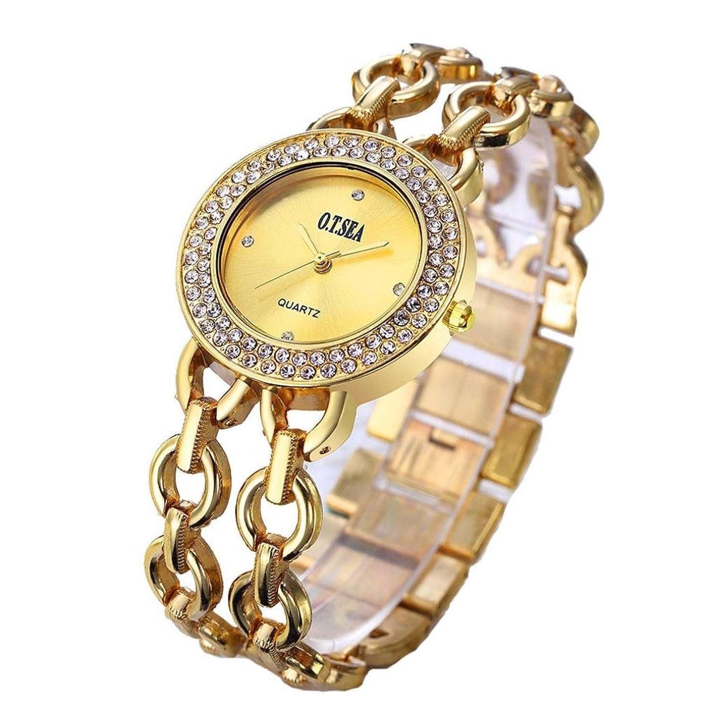 レディース絶妙な腕時計、Sinmaラインストーンデュアルチェーン腕時計アナログクオーツ腕時計for o.t.海 B072841M1R