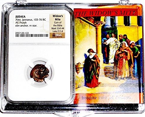 2000 IT Years Old Ancient Widows Mite Coin, NGC Certified With Box2057120122, Judaea Prutah cir 100 BC 18mm Fine