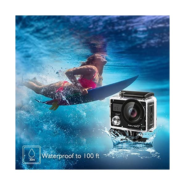 AKASO Caméra d'action 4K 20 MP – Avec stabilisation d'image – Zoom accéléré – 30 m – Avec télécommande – 2 batteries et…