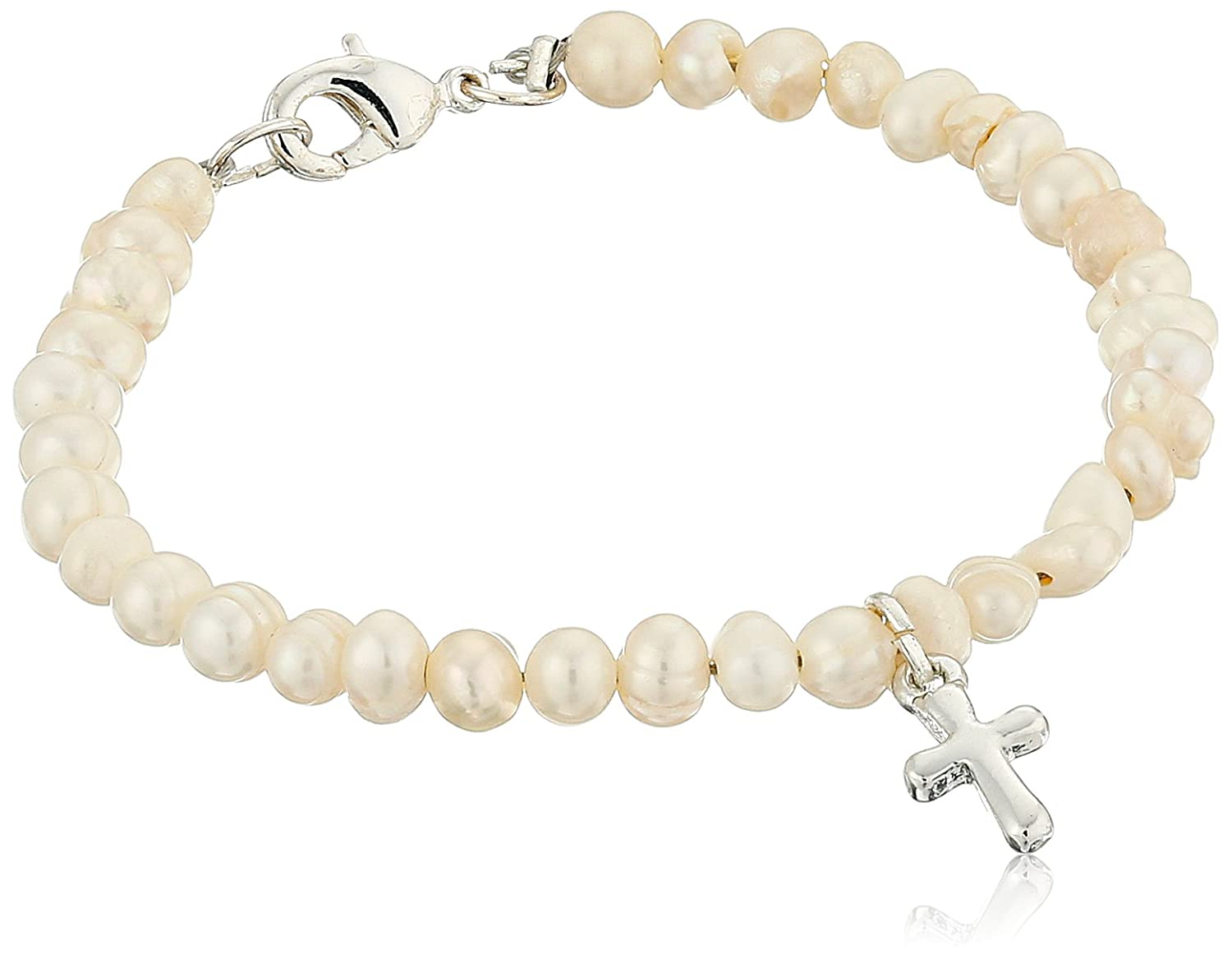 Mud Pie Baby Classic Keepsakes Cultured Pearl Bracelet with Cross, 197023