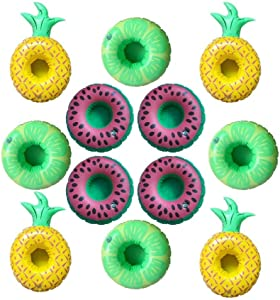 Kaptin 12 Pack Inflatable Pool Party Drink Floats, Fruit Shape Drink Holders(4 Pineapple+4 Lime +4 Watermelon)