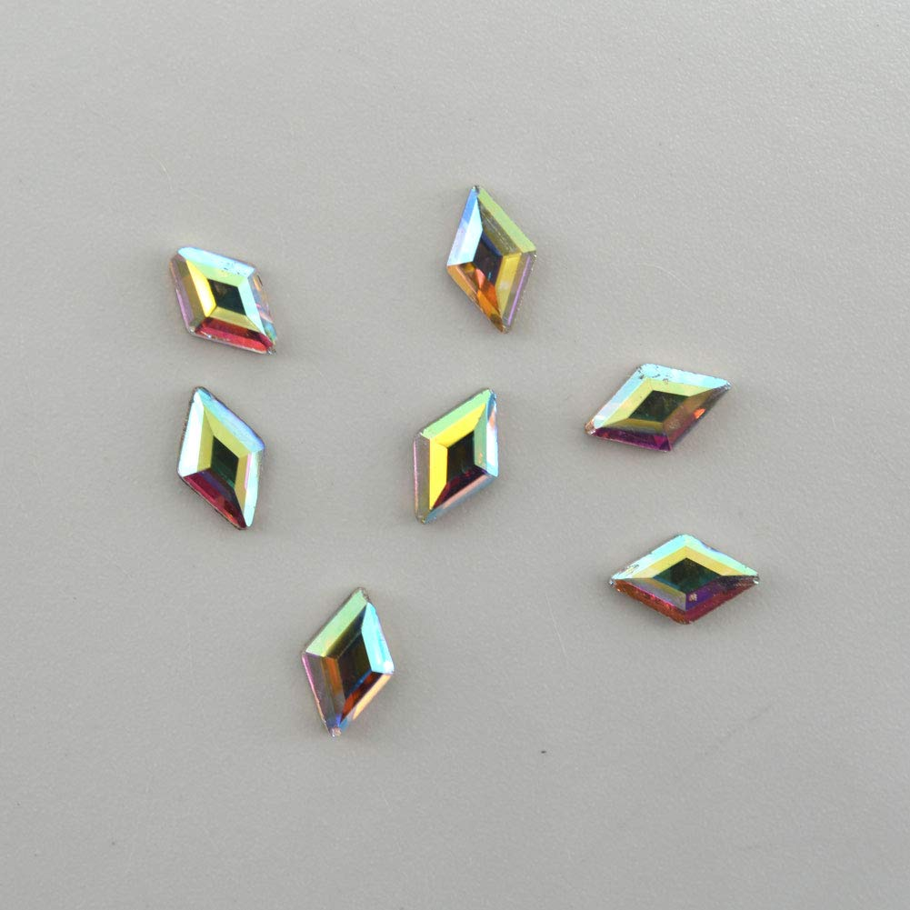 Queenme 120pcs Trapezoid Nail Crystals Flatback Rhinestones for Nails Glass Gems Stone Nail Art Decoration 3D Diamond Jewelry Accessories Salon Supplies Scrapbooking Phone Deco 2X6.5mm AB