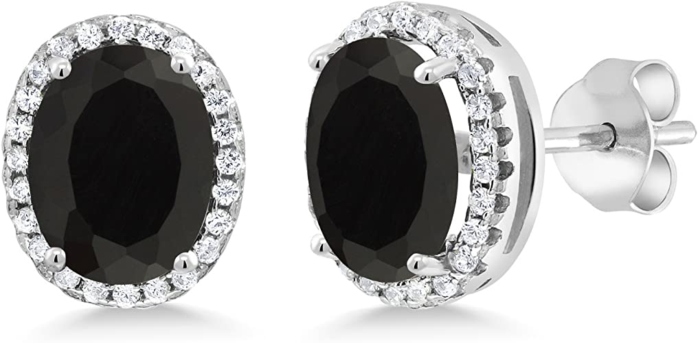 2 Ct Black Onyx /& Diamond Oval Stud Earrings White Gold Silver
