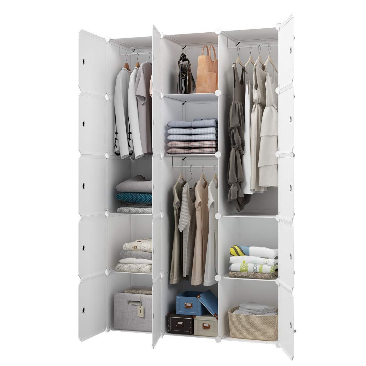 KOUSI Portable Closet Wardrobe Closet Room Closet with Doors Wardrobe with Storage Wardrobes for Bedrooms Portable Closet Wardrobe Bedroom Armoire, White, 3 Hanger by KOUSI