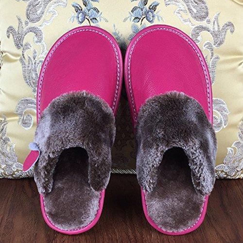 CWAIXXZZ pantofole morbide Home Inverno pelle caldo cotone pantofole uomini e donne autunno inverno soggiorno al coperto con anti-slittamento peluche spesso gli amanti della scarpa, 25) (per una femmi